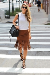 Cassandra DiMicco - Suede Fringe Skirt, Lace Up Heels - Long Fringe Skirt