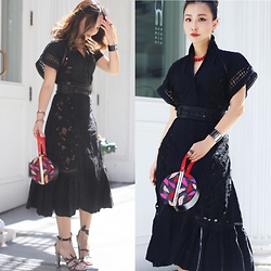 Tracy Qiu - Bryon Lars Dress, Ms.Littles Bag Clutch, Prada Sandals - The eyelet lace