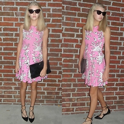 Sydney L. - Red Valentino Valention Pink Floral Dress, Aquazzura 'Christy' Flats - Pretty in Pink Floral