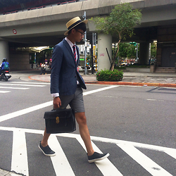 Anan Chien - Tastemaker 達新美 Hat, Uniqlo Blazer, Mcving Briefcase, Asos Lazy Shoes - My fashion week style