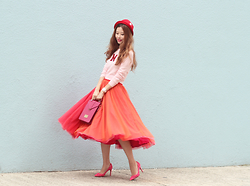 Mayo Wo - 6ixty 8ight Knit Top, Ziztar Tri Color Tulle Skirt, Chez Vu Lapin Bag - Gretel without Hansel