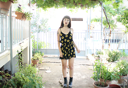 Nadia Drogouli - Newdress.Com Playsuit, Doc Martens - THE LAST SUNFLOWER