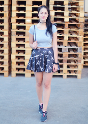 Tanja S. - Top, Boy London Skirt, Adidas Sneakers - All grey everything