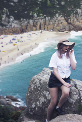 Sapphire Needham - Karen Millen White Shirt, Urban Outfitters Leather Skirt, Topshop Sunhat - Last Of The Summer