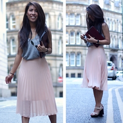 Sindy N - Vest, Skirt - Pink x Grey
