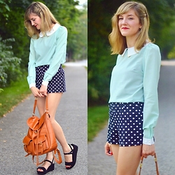 Lauren Douglas - New Dress Long Sleeve Collared Blouse - Blue Blouse and Polka Dots