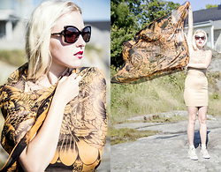 Nicola Marleen - Demon Tz Scarf, Axparis Dress, Moschino Sunglasses - Harbour