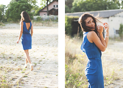 Eva -  - Navy silk dress