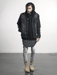 OTHER UK - Otheruk Distressed Denim Jacket / Black, Otheruk Drop Shoulder Hoodie / Black, Otheruk Long Curved Hem Vest / Black & White, Otheruk Distressed Biker Jeans / Stonewashed Light Grey - THE RESISTANCE PART 2