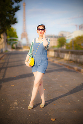 Jessica D - Mih Jeans Dungarees, Miu Glitter Shoes, Primark Pinapple Bag, Tom Ford Sunnies, Uniqlo By Ines De La Fresange Breton Top - Bye Bye Summer !