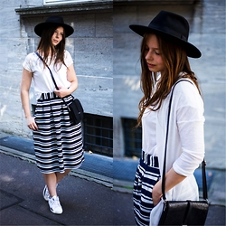 Laura - H&M Hat, New Yorker Shirt, Monki Cardigan, Monki Bag, First And I Skirt, Puma Shoes - Summer is over