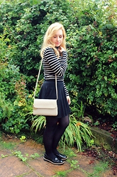 Amy Keeling - Petit Bateau Striped Breton, Radley London Millbank, Clarks Patent Flats, New Look Skater Skirt - Outfit of the day | Radley Millbank