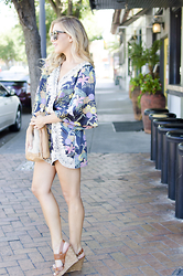 Ashley - I. Madeline Floral Romper, Jessica Simpson Nude Wedges - Romping Around