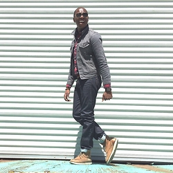"David Thande - Redwing Boots 405 Boot, Jcrew 484 Selvage Jeans, Levi's® Denim Jacket, Jcrew Plaid Shirt, H&M Wayfers -    ""predisposed to joy"""