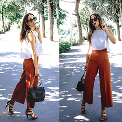 Alison Liaudat - Zara Culottes, Zara Crop Top, Guess Camel Suede Sandals, Tory Burch Marion Quilted Bag, Céline Sunglasses - Nail the Culottes