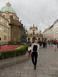 Mara P - Zara Pants, Coach Bag, H&M Shirt, Bershka Blouse, Maxmara Boots - While in Prague