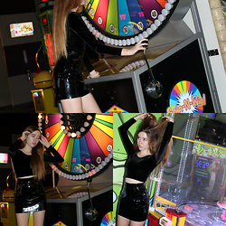 Alyssa Mẩṝḯȇ - American Apparel Vinyl Mini Skirt, American Apparel Stretch Velvet Long Sleeve Crop Top - Arcade