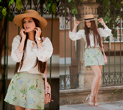 Viktoriya Sener - Dressgal Blouse, Larmoni Shorts, H&M Hat, River Island Bag, Asos Sandals - IN THE GARDEN