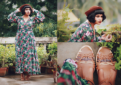Ragini R - Unique Vintage Hibiscus Maxi Dress, Asos Leather T Bar Shoes - Bloomsbury