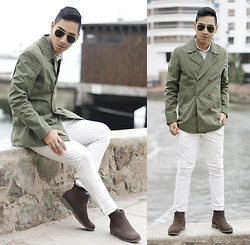 Jimy Escobedo - Guess Sunglasses, Basement Peacoat, H&M Polo, Zara Pants, Ecco Chelsea Boots - Green Peacoat