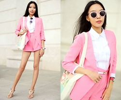 Aibina Yeshkeyeva - Chic Wish Pink Suit, Inkess The Tote Bag, Chic Wish Sunglasses - CANDY PINK SUIT