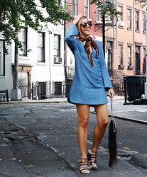 Ashley - Zara Denim Mini, Unknown Vintage Heels, Unknown Fringe Bag, Karen Walker Sunnies, Prada Vintage Scarf - 70s Vibes