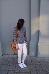 Sue Chung - Ami Stripe Shirt, Uniqlo White Jeans, No More Ugly Camera Bag, Adidas White Sneakers - Ami