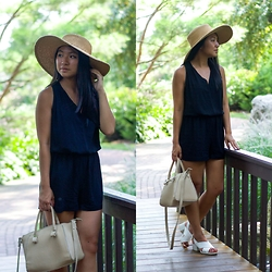 Christina Lau - Ro & De Romper, Forever 21 Bag, Urban Outfitters Hat - In the Garden