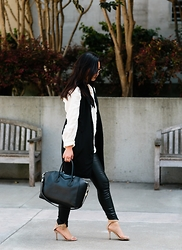 Tiffany Wang - Free People Shirt, Alexander Wang Vest, Blank Jeans Nyc Leather Pants, Zara Heels, Givenchy Bag, Ray Ban Sunglasses - VEST