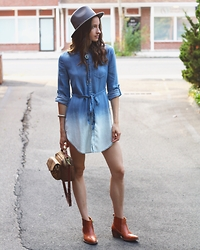 Lindsay W. - Anthropologie Holding Horses Shirtdress, Seventies Western Boots, Madewell Leather Purse, Vince Camuto Wide Brim Hat, Vintage Bolo Tie - New Age Cowgirl