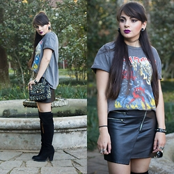 Camilla Marques - H&M Leather Skirt, Topshop Band Tee - Speed of Light