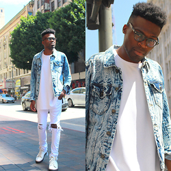 Vernon M. - Forever 21 Oversized Tee, Arizona Jeans (Distressed & Tailored), Forever 21 Denim Jacket - Distressed in DTLA