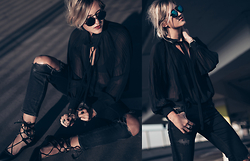 Mikuta - Fashion Pills Blouse, Public Desire Shoes, Zerouv Sunglasses, Zara Jeans - FALL INTO THE DARK