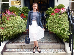 Lauren Rose Bell - Miss Selfridge Leather Jacket, New Look Midi Skirt, H&M Striped Crop Top, Topshop Lace Up Sandals, Accessorize Bag - Girly Skirts and Monochrome Stripes