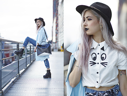 Léopoldine Cannibale - Lazy Oaf Cat Shirt, Sheinside Boyfriend Jeans, Fashion Pills Trench, Fashion Pills Platforms, Asos Hat, Asos Bag, Triwa Watch - My money ? I'm wearing it or I ate it