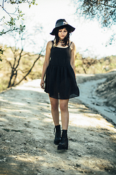 Frankie Clarke - Unif Hat, Urban Outfitters Dress, Unif Boots - Black on black
