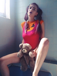 Liz Harvey - Jackolantern Tshirt, American Apparel Pink Body Suit, Teddy Bear Backpack - Pouty bb