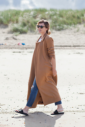 Christine R. - Charlie May Coat, Adidas Slides - Breezy beach day