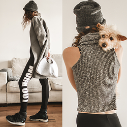 Elle-May Leckenby - Stay Active Black Leggings, Knit High Neck Tank, The Hat In Moss, Diy Felt Dumpling Bag, The Dog Stanley - Casual cuddles