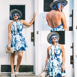Kayla McC - Keepsake The Label Marbled Dress, Forever 21 Seude Fedora, Gypsy Warrior Cat Eye Sunnies - Honey, I'm Home!