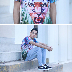 Ahmed Imoudrog - Choies Tiger And Forest Print Short Sleeve T Shirt, Cndirect Men Hip Hop Elastic Waist Slant Pockets Baggy Harem Pants Trousers, Vans Black - Tiger And Forest