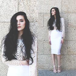 CLAUDIA Holynights - Sheinside Lace Top, Cndirect Body Con Skirt, Choies Shoes - White and lace