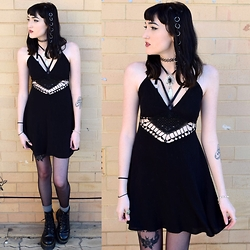 Kaicee Clare - Missguided Crochet Dress, Lovisa Bolo Tie Choker, Lovisa Hair Rings, Dr. Martens Jadon - We Would Only Hold On To Let Go