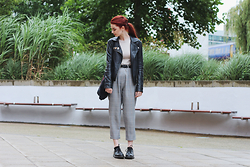 Hannah Louise - Asos Faux Leather Jacket, Urban Outfitters Grey Plaid Trousers, Dr Martens 1461 Shoes - Grey Plaid Trousers