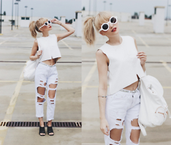 Chloe From The Woods - Zerouv Retro Vintage White Sunglasses, H&M Faux Leather White Backpack, Style Moi White Distressed Boyfriend Jeans - Rooftop Rebel