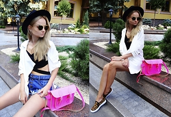 Violetta Privalova - The Leather Satchel Company Bag, Cndirect Coat, Cndirect Sneakers, Asos Shorts, Dresslink Croptop, Asos Hat, Cndirect Sunglasses - Crop Top