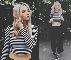 Joey Taylor - H&M Stripe Top, Zara Cropped Trousers, H&M Leather Jacket, Reebok Trainers - THE LEATHER JACKET