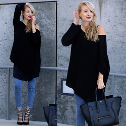 Leonie Hanne - Aquazzura Heels, Ikks Silk Dress, Zara Sweater, Céline Mini Luggage Bag - Denim & black | ohhcouture.com