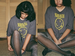 Gyanna Yumping - Japan Glitter Tights, Thrifted Nirvana T Shirt - Your Loves Whore