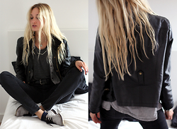 Eva Velt - Only Faux Leather Jacket, Mango Grey Crop Top, Van Haren Diy Shoes. Made Them Black, H&M Waist Jeans, Brandy Melville Usa Necklace - Mathematical Tuesdays